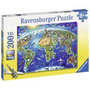 Ravensburger XXL pusle 200 tk Maamärkide kaart 1/2