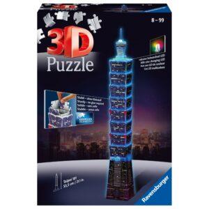 Ravensburger 3D pusle Taipei torn pimedas helendav 1/4
